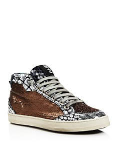 P448 - Women's LOVEBS Pailettes Lace-Up High Top Sneakers